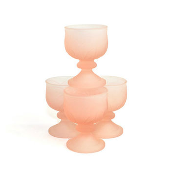 "Coral Peach Frosted Glass Goblets, Sorbet Cups, or Candle Holders (Set of 4) - Tiara Exclusive ""Leaf Candle Lamp"" - Vintage Home Decor"