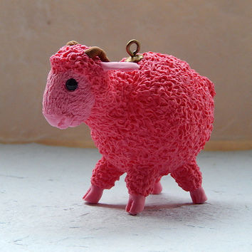 Christmas Ornament,figurine sheep,Animal totem,lamb figurine of polimer clay,lamb jewelry,holiday ornaments,tree ornament,new year 2015
