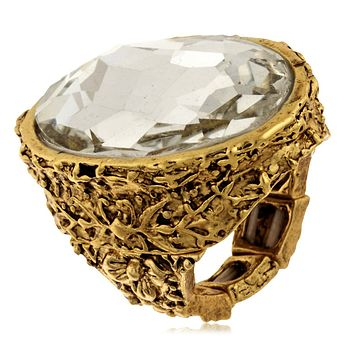 Floral Carved Oval Ring in Clear