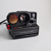 80s Polaroid Camera Sonar OneStep Autofocus SX70 Black Red Design