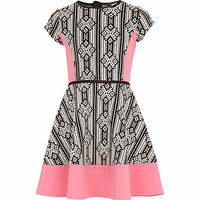 GIRLS PINK AZTEC PANELLED FIT AND FLARE DRESS
