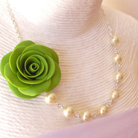 Lime Green Rose Necklace, Green Flower Necklace, Bridesmaid Necklace, Statement Necklace. Spring Summer Necklace
