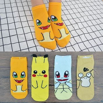 4 Pair/set Cute Cartoon Anime Women Short Socks  Pikachu/Squirtle/Psyduck/Charmander Women Ankle Socks with Gift BagKawaii Pokemon go  AT_89_9