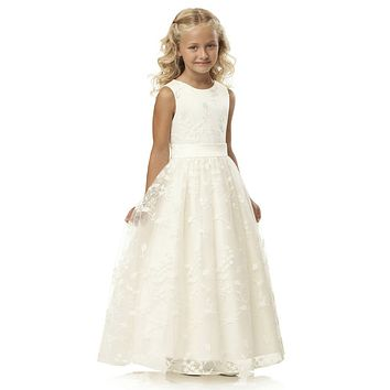 Cheap White Ivory Vintage Lace Holy First Communion Dresses For Girls 2017 Floor Length Long Flower Girl Dresses For Weddings