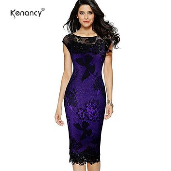 Kenancy 5XL Plus Size Women Pencil Dress Summer Fashion Exquisite Sequins Crochet Butterfly Lace Party Bodycon Dress