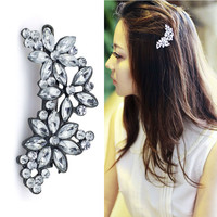 Flower Hairpin Hair Clip Full Crystal Rhinestone Bridal  Wedding  Headwear Barrette Accessories Jewelry For Woman Girls F113
