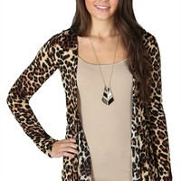 Long Sleeve Cozy with Cheetah Print and Lace Back
