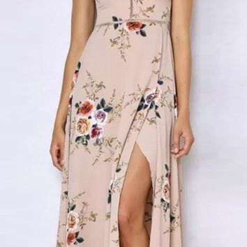 Khaki Floral Halter Maxi Slit Dress