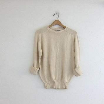 Vintage natural white sweater. Oversized fisherman's sweater. cotton knit pullover. Soft cozy sweater.