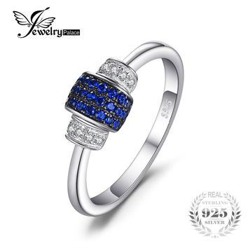JewelryPalace Lock 0.16ct Created Blue Spinel Jewelry Rings Genuine 925 Sterling Silver Charms 2017 Fashion Rings For Women Gift