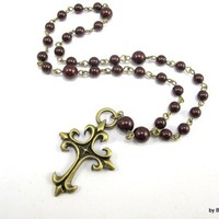 Anglican Prayer Beads with Maroon Pearls and Antique Brass Cross