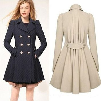Spring Autumn Trench Coat for Women Long Coat Female Long-Sleeved Women's Spring Coat Elegant British Style Long Maxi Coats