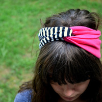 Black and White Striped and Solid Pink Turban Headband