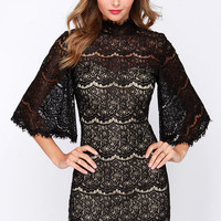 LULUS Exclusive Love in the First Degree Black Lace Dress