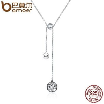 Genuine 925 Sterling Silver Tree of Life & House Letter Link Chain Necklaces & Pendants Authentic Silver Jewelry SCN106