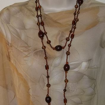"Vintage Dark Wood & Rootbeer Glass Beaded 50"" Strand Necklace ca.1950's"