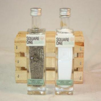 Salt & Pepper Shaker from Upcycled Glass Square One Mini Liquor Bottles
