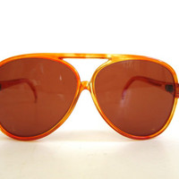 Vintage glasses. 1980's Vintage clear orange Aviator Sunglasses / Made in Mauritius sunglasses / big lenses / 1980 style / aviators