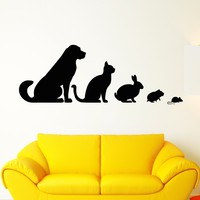 Vinyl Wall Decal Veterinary Clinic Animals Pets Dog Cat Rabbit Hamster Stickers Unique Gift (1734ig)