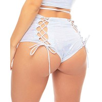 Glitz Lace-Back High-Waist Booty Shorts