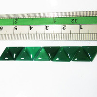10 Green Agate Triangles Trillions Gemstones size 10x10 mm 11.35 carat