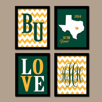 Baylor University College Sic'em Bears Waco Custom Monogram Initial Chevron State LOVE Wedding Set of 4 Prints Wall ART Graduation Gift