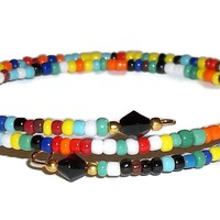 Autism Awareness Themed Multi Color Glass Beaded Artisan Crafted Stackables Wrap Bracelet (S-M)