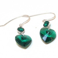 Emerald Swarovski Crystal Earrings - LinorStore Jewelry & Kippah