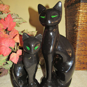 70s 80s Two Black Porcelain Cats Home Decor Halloween Figurines