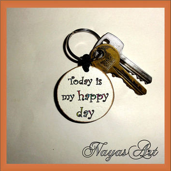 Happy Day Keychain personalized. Accessories Lucky keyring. White Wood Handmade Keyring Keychain. Unique keychain Wooden natural slice gift