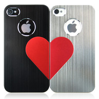 3D Love Metal iPhone 4/4S Case For Couple