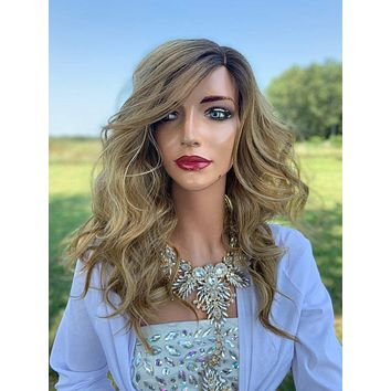 Jennifer Natural Hair Wig, Ombre Blonde Highlight Root