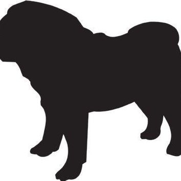 Pug Silhouette Dog Puppy Breed Long Die Cut Vinyl Transfer Decal Sticker