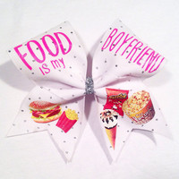 Food Is My Boyfriend Cheer Bow