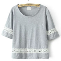 Grey Lace Spliced Crop Top