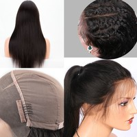 Hair Wig 360 Lace Front wig Human Hair Wigs sikly Straight 360 Lace Wigs Natural Color Brazilian Remy Hair Ponytail
