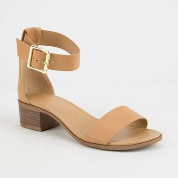 CITY CLASSIFIED Simple Strap Womens Camel Heeled Sandal