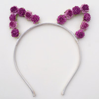 Purple Floral Cat Ears #E1013
