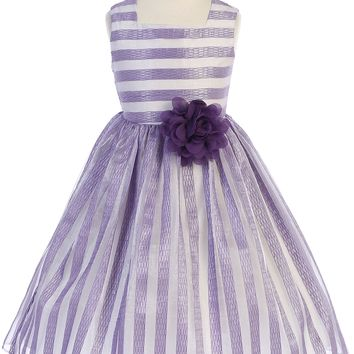 Lavender & Ivory Striped Girls Easter Dress w. Contrast Lining 2-12