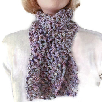 CLEARANCE SALE! Crochet Scarflette, Purples & Pinks Chunky Scarf, Neck Warmer Handmade. Womens Fashion, Ladies Accessories. Winter warmers.