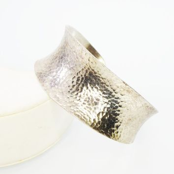 Hammered Sterling Silver Cuff Bracelet, Tested 925, Concave Wide Flared Edges, Minimalist Vintage 1950s 1960s Jewelry, BOHO Brutalist Design