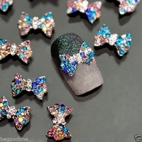 10pc/Lot 3D Bow Tie Nail Art Decorations Colorful DIY Nail Tips Rhinestones Gems