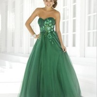 Buy Charming Ball Gown Sweetheart Applique Tulle Prom Dress under 200-SinoAnt.com