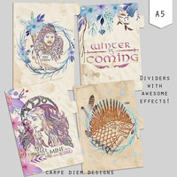 Game of Thrones A5 Printable Planner Dividers and Dashboard