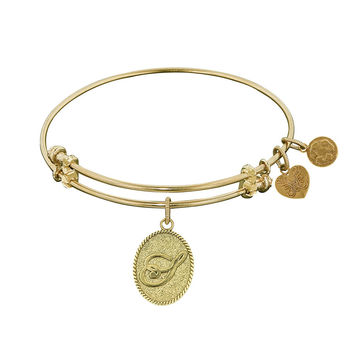 Angelica Collection Non-antique Yellow Stipple Finish Brass Initial Expandable Bangle