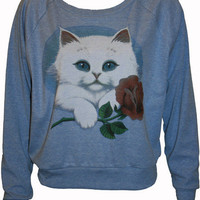 "KItty Cat Holding a Rose Pullover Slouchy ""Sweatshirt""  Top American Apparel Blue M"