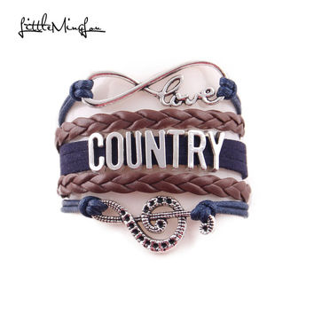 Little Minglou Infinity Love country bracelet suede braid music note cowboy hat Charm bracelets & bangles for women Jewelry
