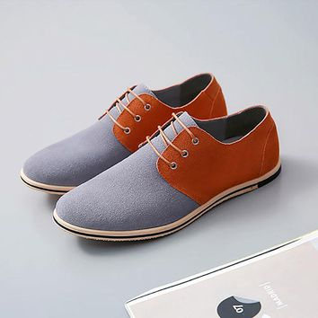 Men shoes 2018 new fashion breathable high quality flock cozy men casual shoes Lace-up mixed color oxfords shoes zapatos hombre