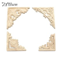KiWarm 4 Styles Vintage Wood Carved Decal Corner Onlay Applique Frame Furniture Wall Unpainted For Home Cabinet Door Decor Craft