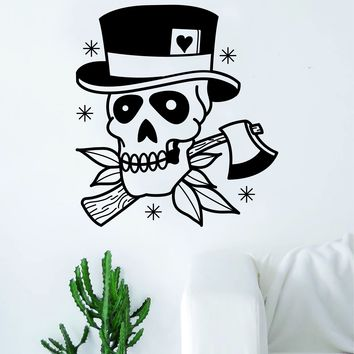 Traditional Tophat Skull Tattoo Decal Sticker Wall Vinyl Art Home Decor Skulls Flowers